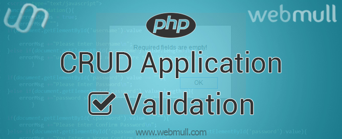 JavaScript CRUD application form validation